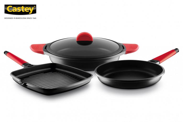 Castey: conjunto de 3 o 4 piezas de sartenes, cacerolas, grill y asador full induction